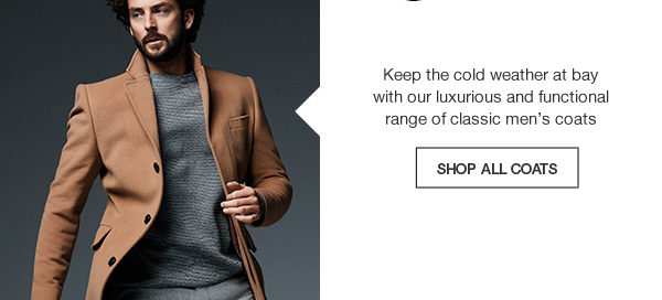 Keep the cold weather at bay with our luxurious and functional range of classic men's coats