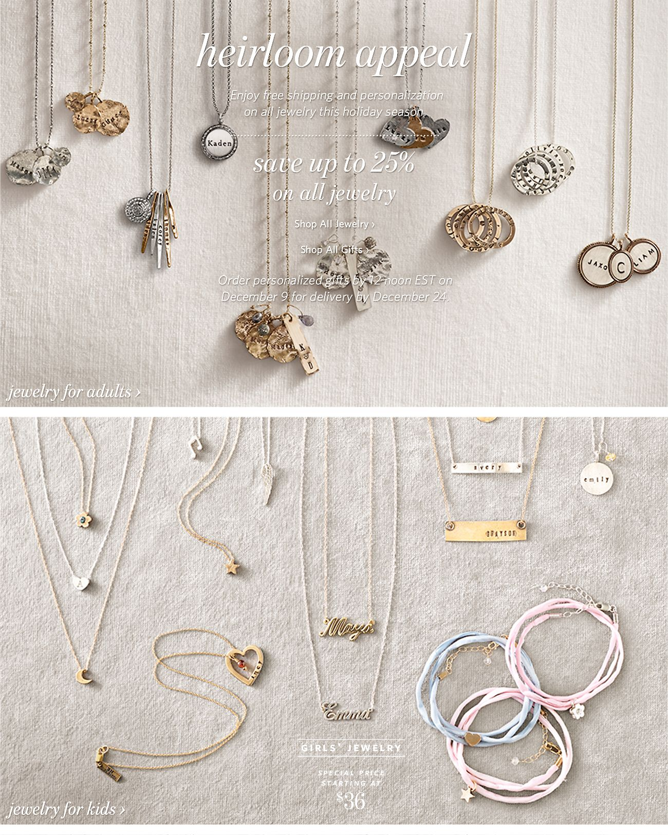 Restoration hardware save up to 25 on personalized jewelry gifts free shipping and personalization on all jewelry negle Image collections