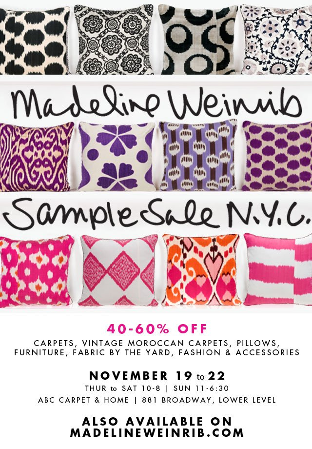 ABC Carpet & Home: Madeline Weinrib Sample Sale NYC Starts ...