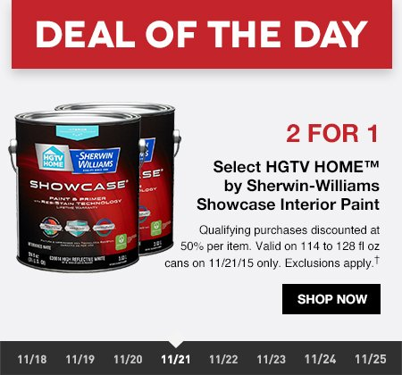 Lowes deal of the day 2 for 1 hgtv home paint by for Interior paint brands