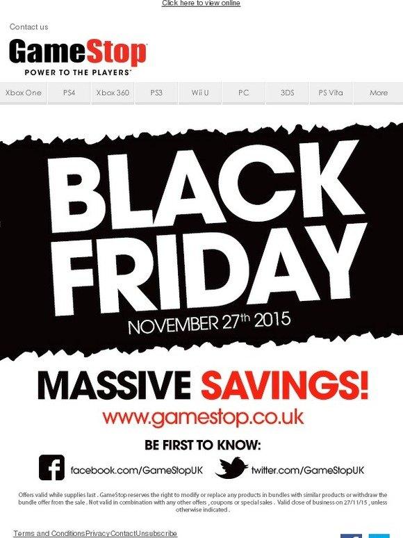 GameStop: Black Friday is 27 November - remember to bookmark