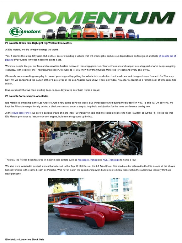 Elio Motors A Special Thank You From Elio Motors Milled