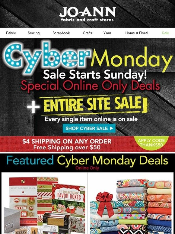 Jo ann fabric and craft store cyber monday sale starts for Jo ann fabric and craft coupons