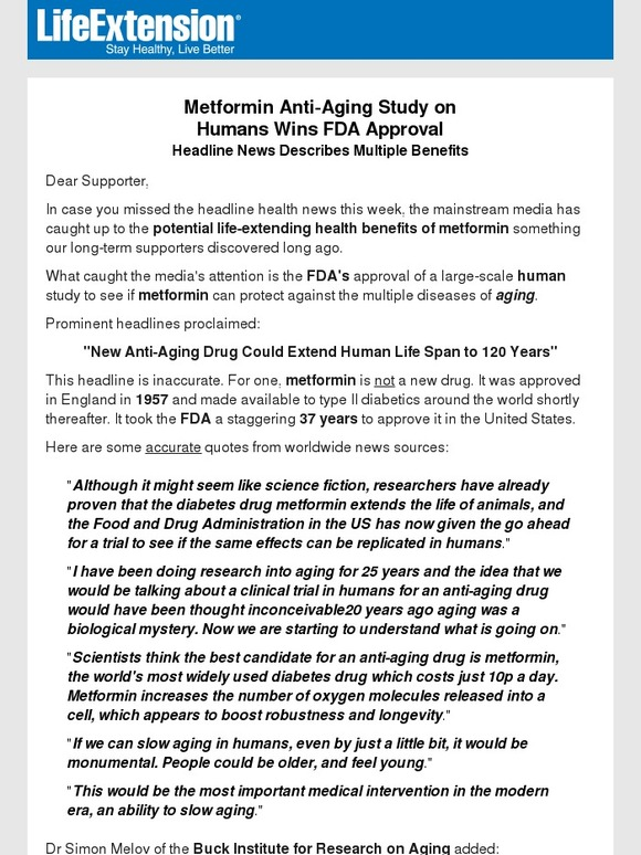 LifeExtension com: Metformin Anti-Aging Study on Humans Wins FDA