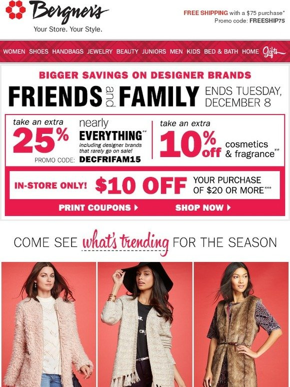 0e5fc7c682 Bergners: Friends & Family: EXTRA 25% off Trends for the Season (Designer  Brands Included!) | Milled