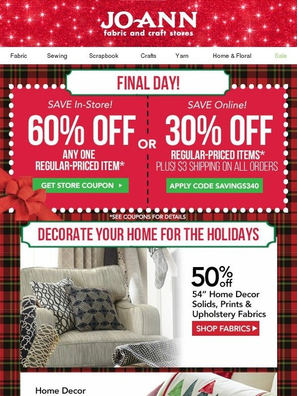 Jo ann fabric and craft store ends today 60 off one reg for Jo ann fabric and craft coupons