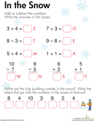 Addition Worksheets addition worksheets winter : education.com: Winter Math Practice for Kids | Milled