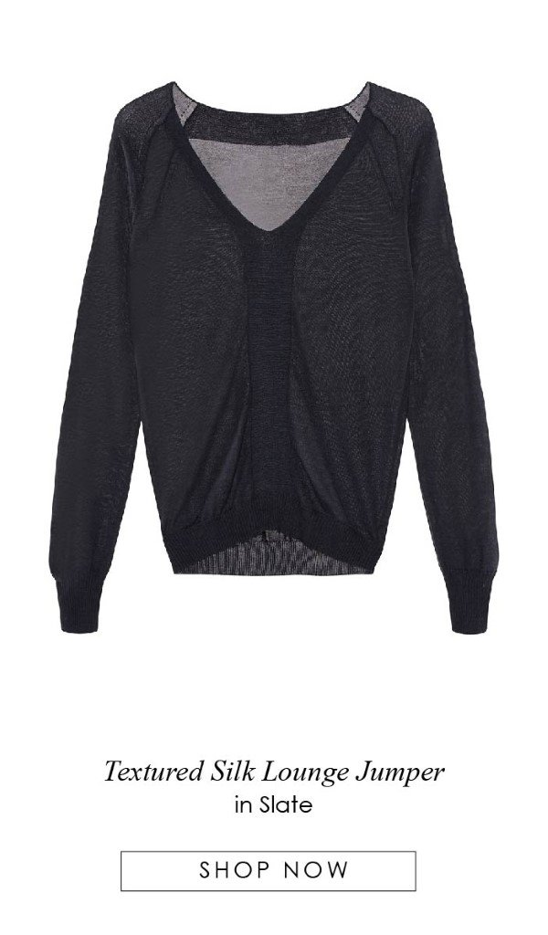 Textured Silk Lounge Jumper in Slate