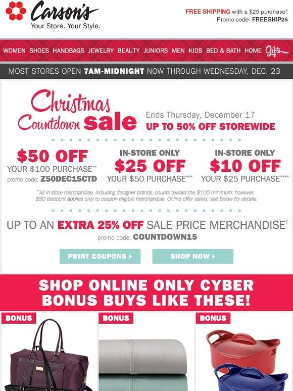 ec16a9837c Carson s  Online Only BONUS BUYS + FREE shipping with your  25 purchase! ➜