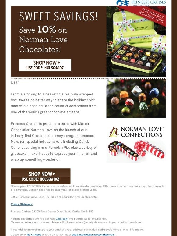 Princess Cruises Special Holiday Offer On Norman Love Chocolates