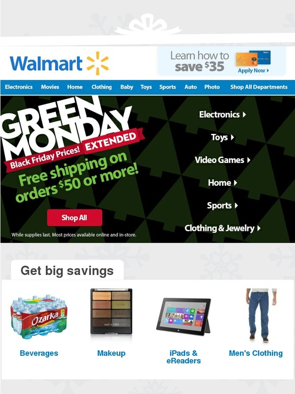 Walmart Green Monday Is Extended One More Day Milled