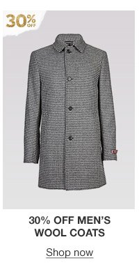 30% off men's wool coats