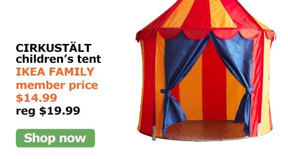 CIRKUSTÄLT childrenu0027s tent IKEA FAMILY member price $14.99 reg $19.99  sc 1 st  Milled & IKEA: $20 off coupon plus 50% off soft toys! | Milled