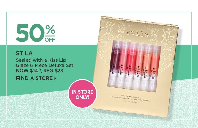 Stila | Sealied with a Kiss Lip Glaze 6 Piece Deluxe Set 50 Percent Off, Now $14. In Store Only