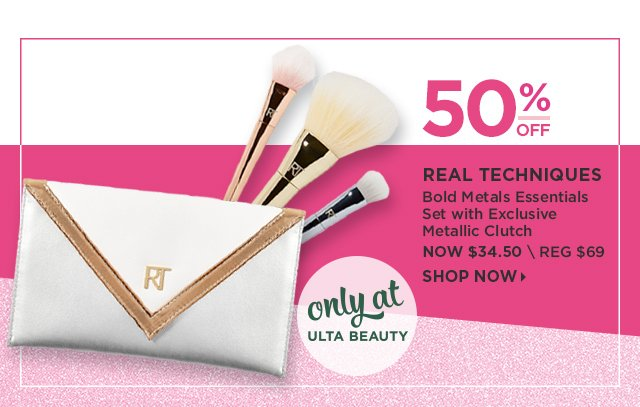 Real Techniques | Bold Metals Essentials Set with Exclusive Metalic Clutch 50 Percent Off, Now $34.50