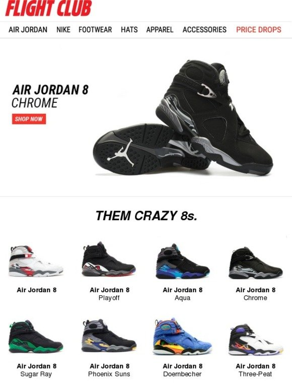"new product d11ca a8f24 Flight Club New York: Strap Up in the Air Jordan 8 ""Chrome ..."