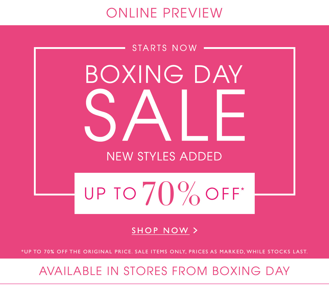 Online Preview Boxing Day Sale Starts Now Up To 70 Off Shop