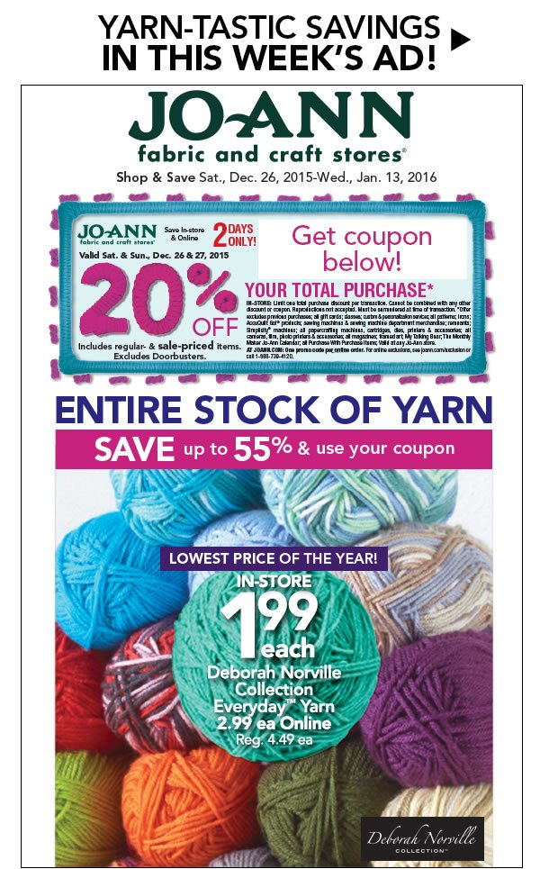 Jo-Ann Fabric and Craft Store: Yay for YARN! All Your Favorites ON ...