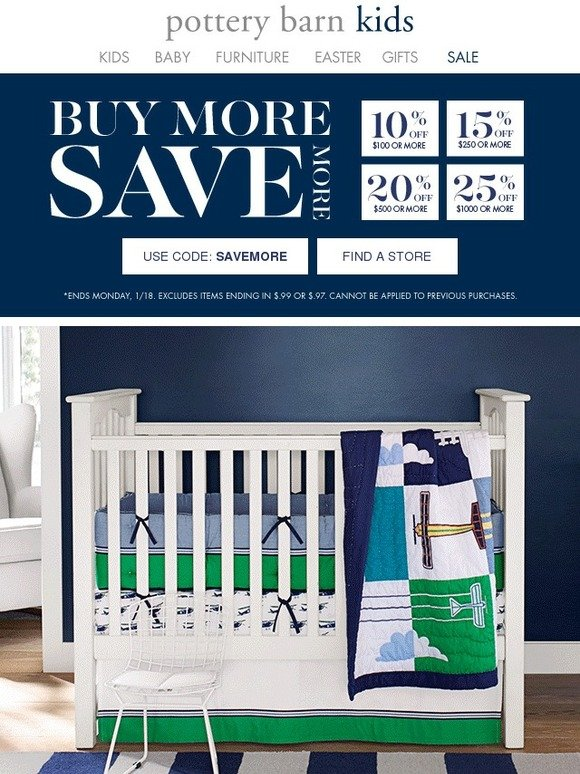 pottery barn kids the whole store is on sale up to 25 off everything milled. Black Bedroom Furniture Sets. Home Design Ideas