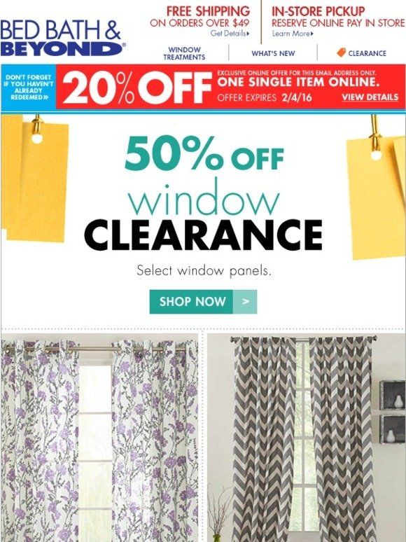 bed bath and beyond clearance window curtains we picked you for this 20 offer milled. Black Bedroom Furniture Sets. Home Design Ideas