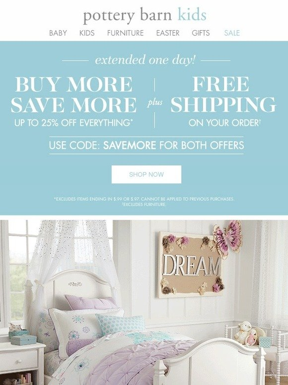 pottery barn kids surprise free shipping plus up to 25 off everything for more day milled. Black Bedroom Furniture Sets. Home Design Ideas