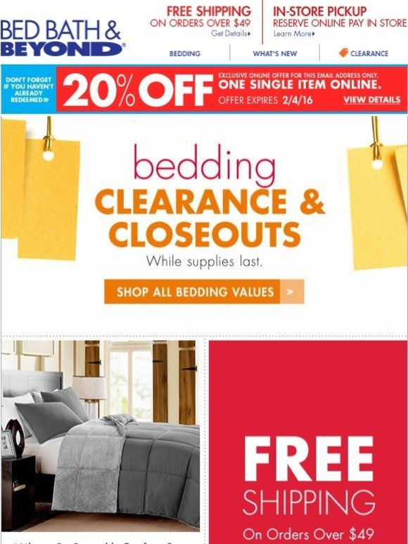 bed bath and beyond clearance closeouts bedding values plus claim your 20 offer milled. Black Bedroom Furniture Sets. Home Design Ideas