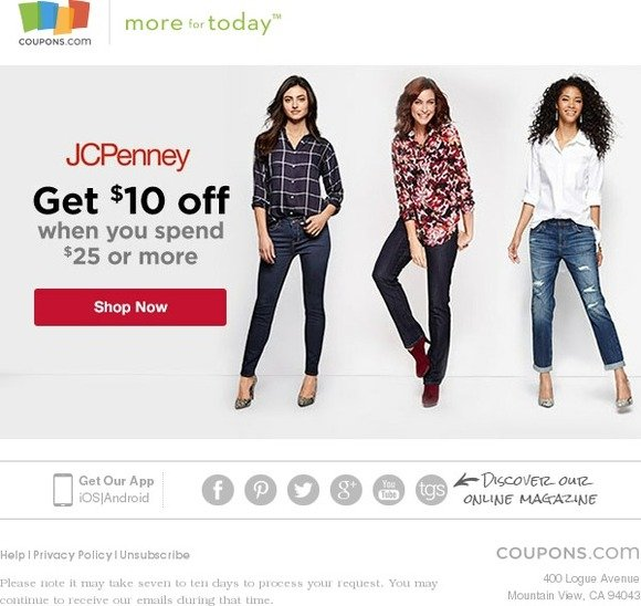 Coupons com: $10 off $25 at JCPenney - Shop Now! | Milled