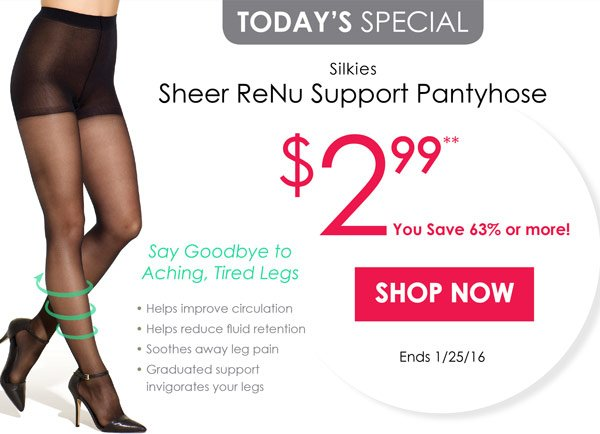 533d72c55 Silkies Sheer ReNu Support Pantyhose only  2.99 at Silkies.com! Hurry