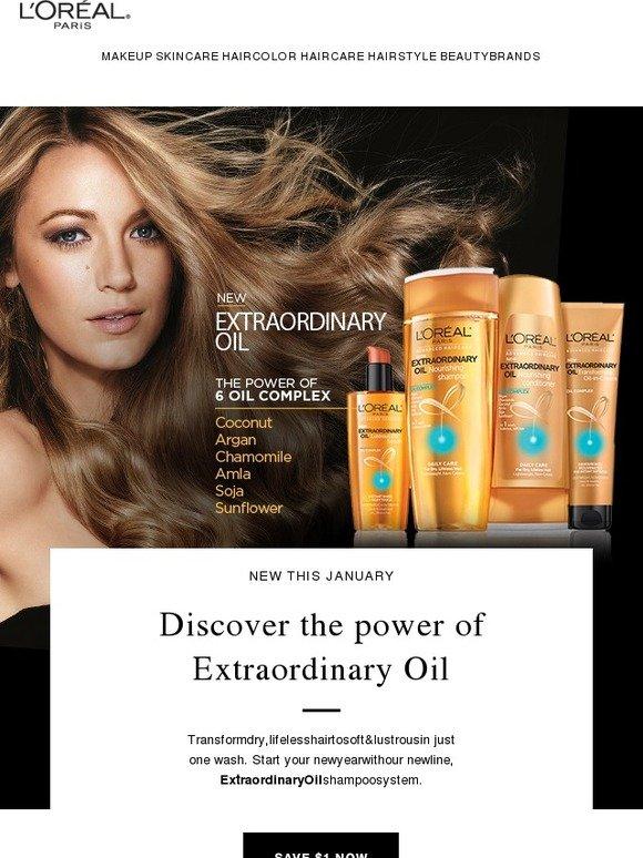 Loreal Paris USA: Kiss dry hair goodbye. Save on New Extraordinary Oil shampoo. | Milled