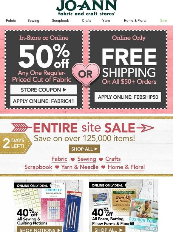 Online fabric store coupon code