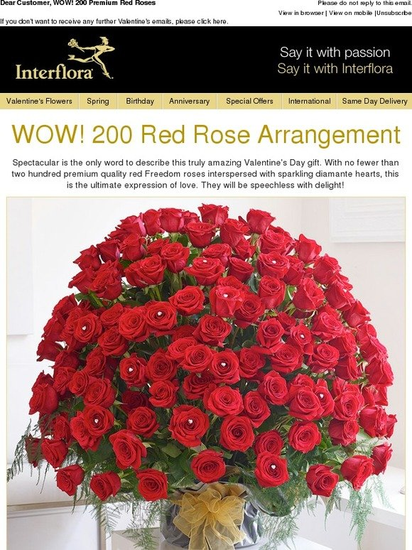 Interflora Wow 200 Premium Red Roses Milled
