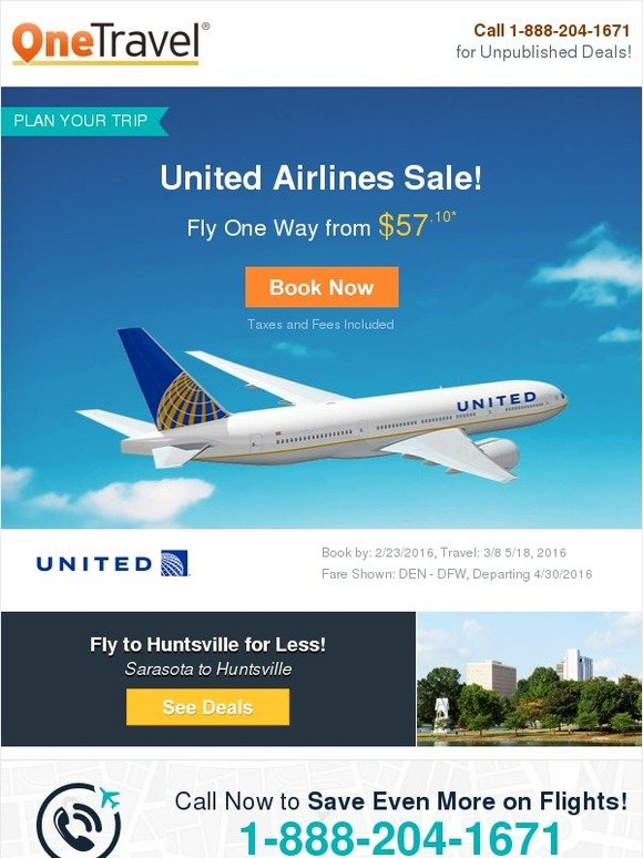 OneTravel.com: United Airlines Sale! Fly from $57.10 | Milled Onetravel