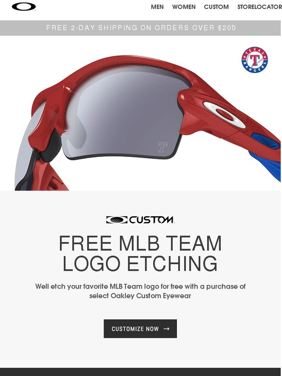 18086175f9 Oakley  FREE MLB® Team Logo Etching on Custom Eyewear