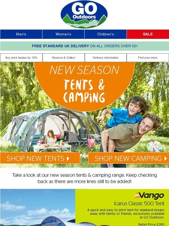 go outdoors new season tents from vango outwell airgo. Black Bedroom Furniture Sets. Home Design Ideas
