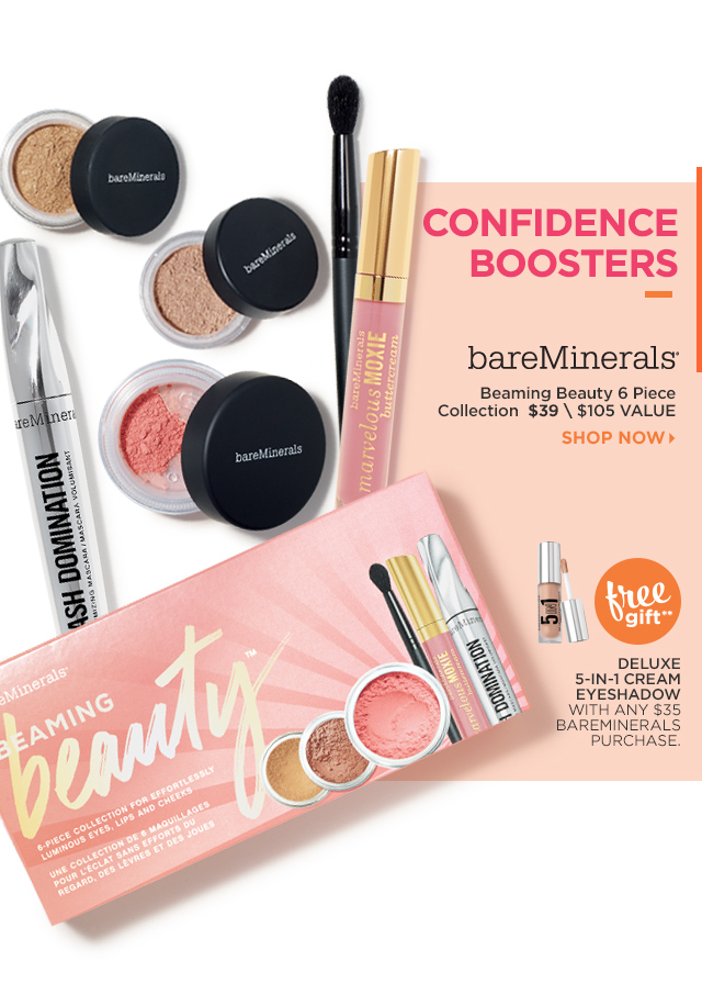 BAREMINERALS | Beaming Beauty 6 Piece Collection $35. Free Gift** Deluxe 5 in 1 Cream Eyeshadow with any $39 bareMinerals purchase.