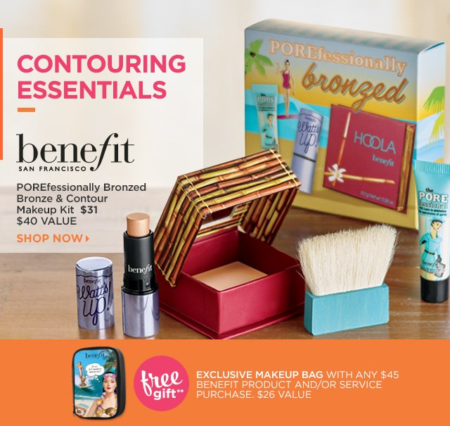 BENEFIT | POREfessionally Bronzed Bronze and Contour Makeup Kit $31. Free Gift** Exclusive Makeup Bag with any $45 Benefit product and or service purchase.