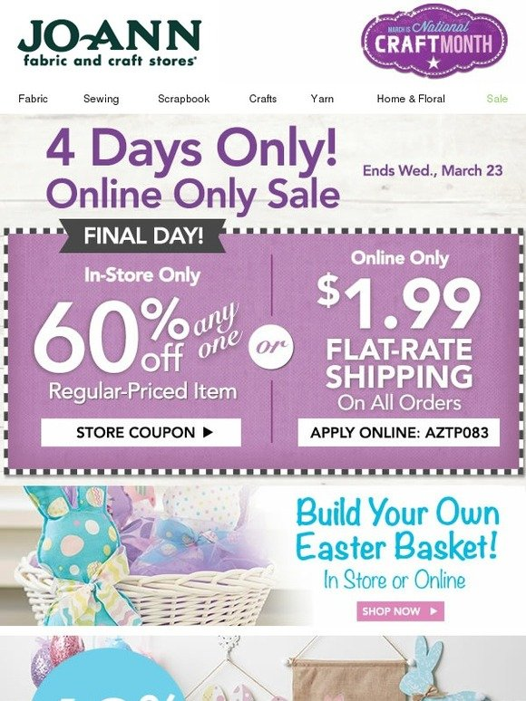 jo ann fabric and craft store time to get hopping easter