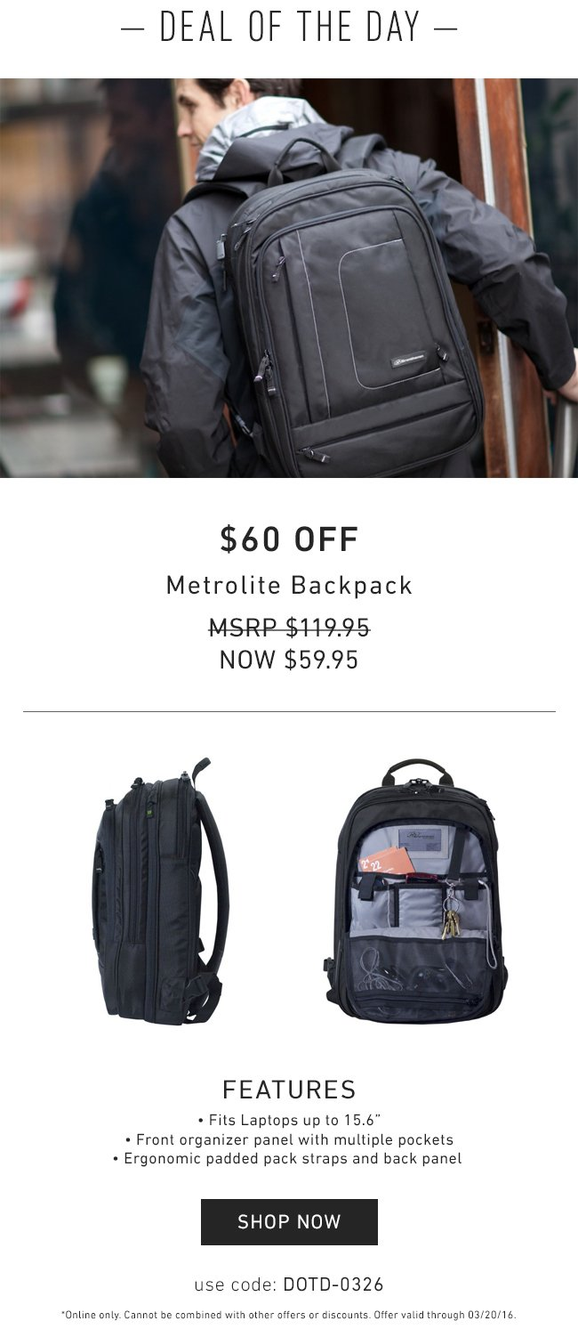 350e589c66bb Brenthaven: One Day Only: $60 OFF the Metrolite Laptop Backpack | Milled
