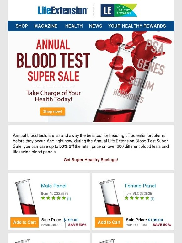 LifeExtension com: Blood Test Sale –– take charge of your