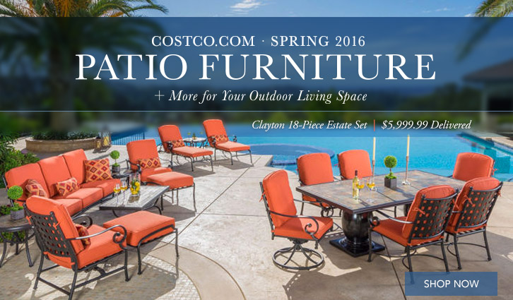 Costco.com Spring 2016 Patio Furniture. Clayton 18 Piece Estate Set,  $5,999.99