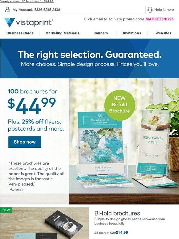 Vistaprint brochures let your story unfold 100 for 4499 right now milled for Vistaprint brochures