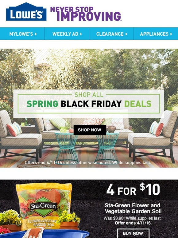 Lowes This Is Huge Spring Black Friday Is Here Milled