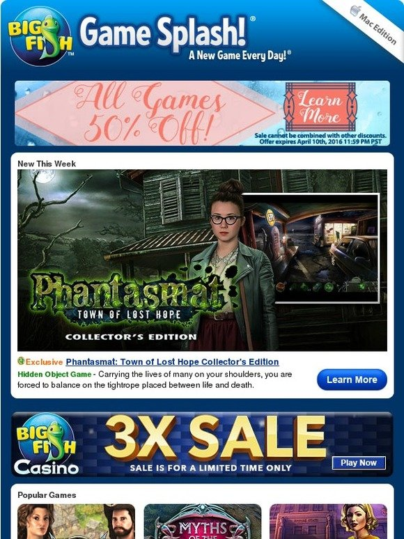 Big Fish Games Half Off All Games Milled