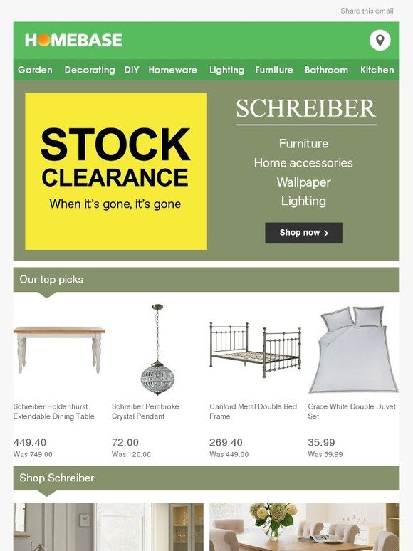 Homebase: Schreiber Clearance Home & Furniture