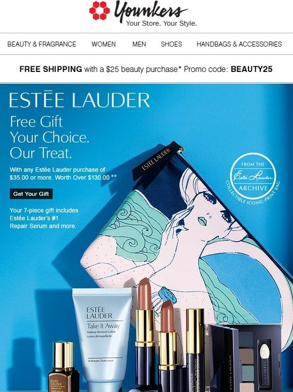 Younkers: Estée Lauder • FREE 7-pc. gift w/your $35 Lauder purchase** | Milled
