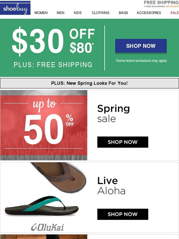 For limited time shoebuy is having a Up to 75% Off Sale. Check out their shoes for women's, men's, and kid's items. Plus save more with up to 30% off coupon code on DealsPlus.