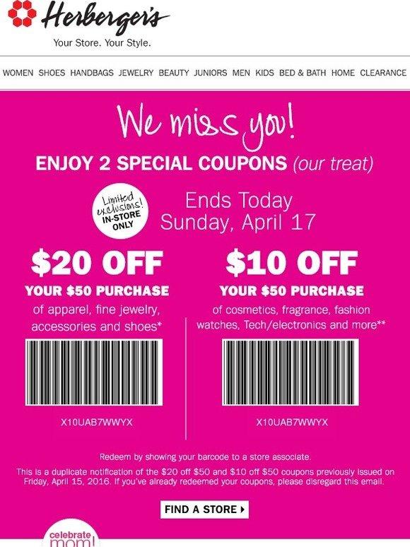 Herbergers coupon code
