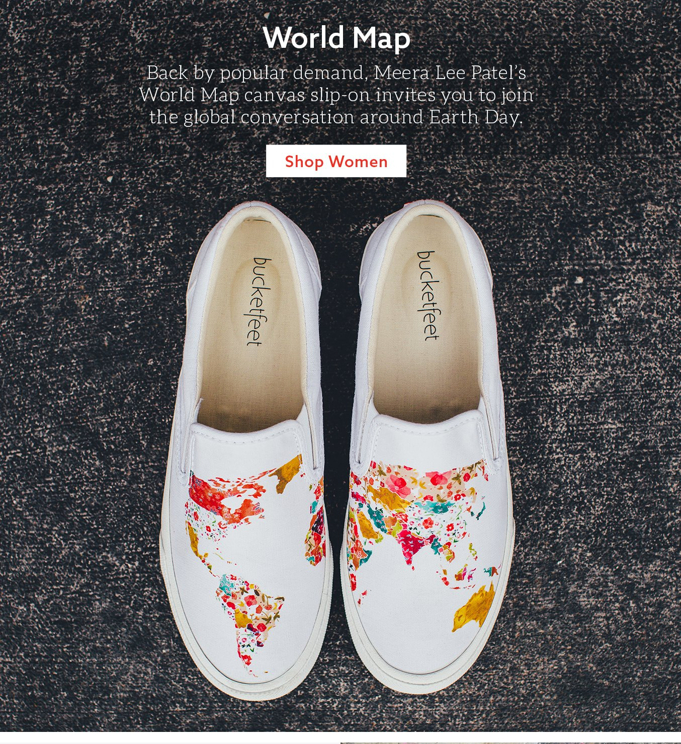 1411c035e25e Bucketfeet  Support Earth Day with your own world map.