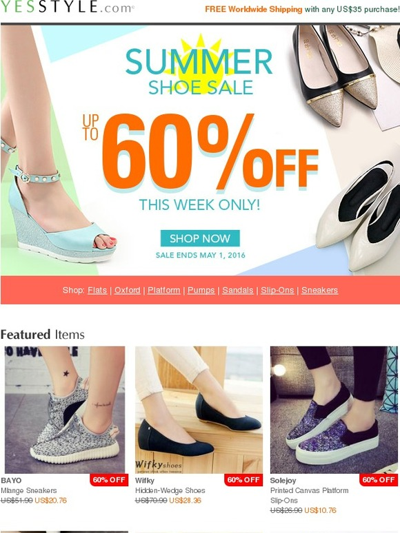 039263561c1 YesStyle  Huge Summer Shoe Sale - up to 60% OFF! Shop now