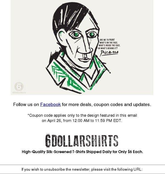 6 dollar shirts 6dollarshirts daily tee april 26 only for 6 dollar shirts coupon code free shipping